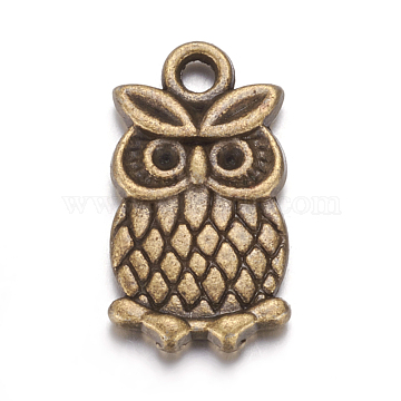Metal Alloy Pendants Rhinestone Settings, Lead Free and Cadmium Free, Antique Bronze, for Halloween, Owl, 20x10x2mm, hole: 2mm; Fit for 1.5mm rhinestone(X-PALLOY-A14926-AB)