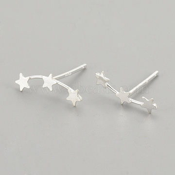 925 Sterling Silver Stud Earring Findings, Carved 925, Star, Silver, 12mm, Pin: 0.7mm(X-STER-S002-40)