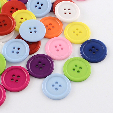 4-Hole Plastic Buttons, Flat Round, Mixed Color, 24.5x2.5mm, Hole: 2mm(BUTT-R034-057)