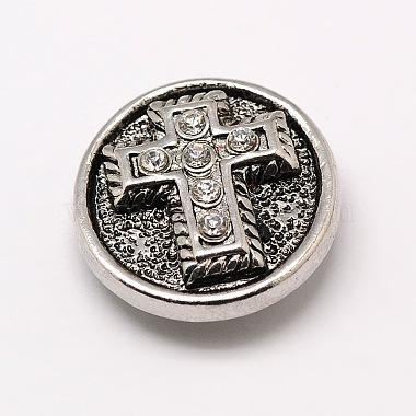 32L(20mm) Antique Silver Flat Round Alloy + Rhinestone Button