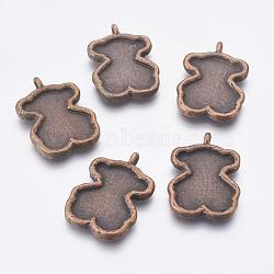 Support pendentif cabochon d'émail ours de style tibétain , cuivre rouge, sans plomb et sans cadmium et sans nickel, 37x26x4mm, Trou: 2x3mm(EA9925Y-R)