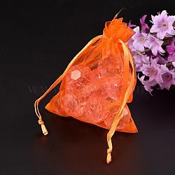 Emballage de bijoux en rectangle, Pochette organza pour cadeaux, orange, taille: environ 8 cm de large, 10 cm de long(X-OP-002-10)