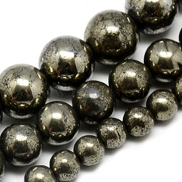 Natural Pyrite Beads Strands, Round, Dark Slate Gray, 6mm, Hole: 1mm; about 66pcs/strand, 16.3 inches(41.4cm)(X-G-S265-03-6mm)