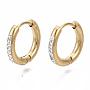 304 Stainless Steel Huggie Hoop Earrings, with Crystal Rhinestone, Ring, Golden, 15x2.5mm, Pin: 1mm