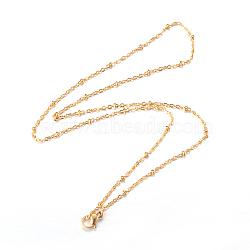 "Colliers avec chaîne de câble en 304 acier inoxydable, avec fermoir pince de homard, or, 17.91"" (45.5cm); 1.5mm(NJEW-F201-01G)"
