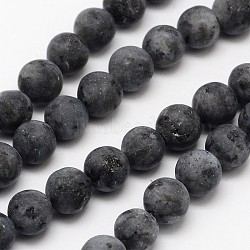 Natural Labradorite Beads Strands, Frosted, Round, 6mm, Hole: 0.8mm; about 60pcs/strand, 14.1inches