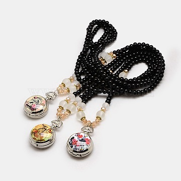 Mixed Styles Long Black Glass Beaded Openable Printed Porcelain Alloy Quartz Pocket Watch Flat Round Pendant Necklaces, Platinum, 32.3 inches(WACH-M037-M)