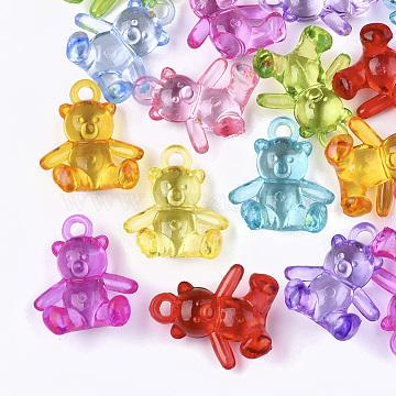 Transparent Acrylic Pendants, Bear, Mixed Color, 25x22x13mm, Hole: 2mm(X-TACR-S133-110)