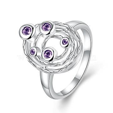Purple Brass+Cubic Zirconia Finger Rings