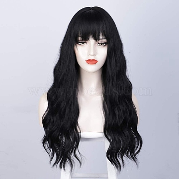 Long Wavy Curly Wigs, Synthetic Wigs, with Neat Bangs, Heat Resistant High Temperature Fiber, For Woman, Black, 27.55 inches(70cm)(OHAR-I019-06)