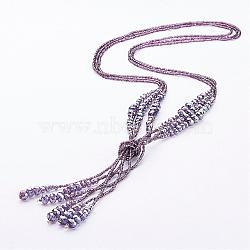 """Perles de verre colliers lariat, avec des perles de rocaille, violet, 27.6"""" (700 mm)(NJEW-A125-A002)"""