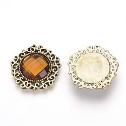 Cabochons à dos plat en alliage avec strass, avec strass acrylique, pentagone, Or antique, verge d'or, 24x24x4mm(RB-S062-09)