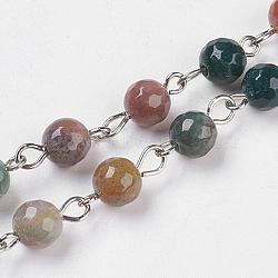 """Chaînes à perles artisanales à l'agate indienne naturelle, non soudée, avec épingle à oeil en fer platiné, ronde à facettes, 14x6~7mm; 39.37"""" (1m) / brin; environ 83pcs / m(X-AJEW-JB00438-01)"""