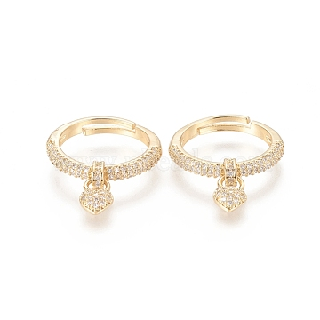 Adjustable Brass Micro Pave Cubic Zirconia Rings, Long-Lasting Plated, with Heart Charms, Real 18K Gold Plated, Size 7, Inner Diameter: 17mm(RJEW-F101-05G)