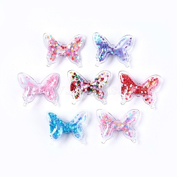 Plastic Alligator Hair Clips, with Paillette & Platinum Plated Iron Base, Butterfly, Mixed Color, 41~42x52~53x12~13mm(PHAR-L005-G)