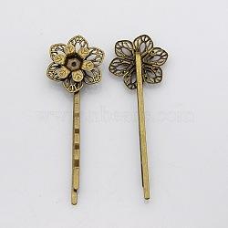Accessoires bobby épingle à cheveux en fer vintage, avec les supports de lunette filigrane fleur pour cabochon, sans nickel, bronze antique, fleur: 23x20 mm; 63x20x7 mm(IFIN-J039-18AB-NF)