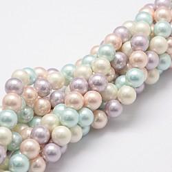 """Brins de perles de nacre polie, Grade a, rond, colorées, 8mm, Trou: 1mm, Environ 27 pcs/chapelet, 8"""" (20.32 cm)(X-BSHE-F013-07A)"""