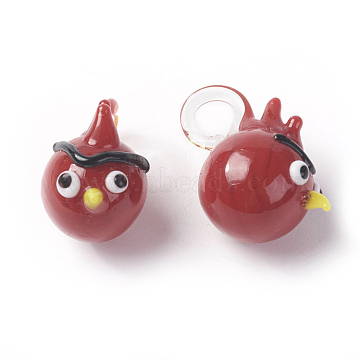 Handmade Lampwork Pendants, Animal, Red, Size: about 18mm wide, 22mm long, hole: 5mm(LAMP-Y048(8)-8)