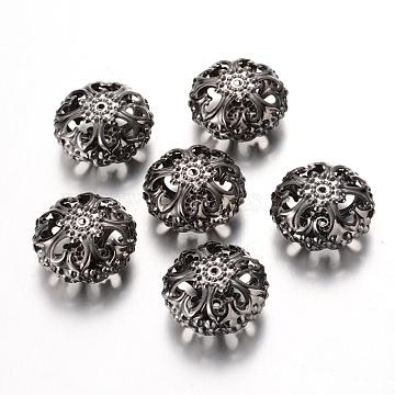 Gunmetal Iron Filigree Flat Round Beads, 23mmx12.5mm, hole: 2mm(X-E060Y-B)