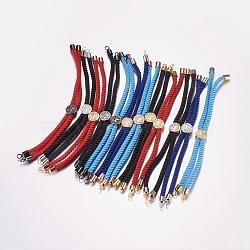 """Création de bracelets à cordon torsadé en nylon, fabrication de bracelet de curseur, avec les accessoires en laiton, arbre de la vie, couleur mixte, 8-5/8"""" (220 mm); 3mm, Trou: 2mm(MAK-F019)"""