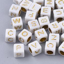 perles acryliques plaqués, cube avec lettre initiale aléatoire, or, 6x6x6 mm, trou: 3.5 mm; environ 3840 pcs / 500 g(MACR-S299-052B)