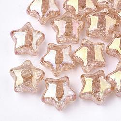 Perles en acrylique transparentes craquelées, demi-percés perles, étoiles, saumon foncé, 15x15.5x9.5mm, demi-trou: 3.5 mm(TACR-S148-03C)