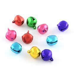 pendentifs en aluminium de cloche, couleur mélangée, 14x11.5x10 mm, trou: 2 mm(X-ALUM-R002-M)