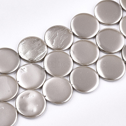 Shell Pearl Beads Strands, Spray Painted, Flat Round, Silver, 20x3mm, Hole: 1mm; about 20pcs/strand, 15.9inches(X-SSHEL-T007-22B)