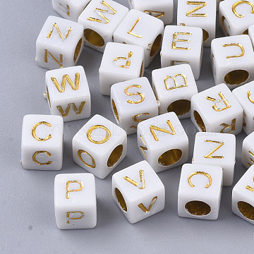 Plated Acrylic Beads, Horizontal Hole, Cube with Random Initial Letter, Gold, 6x6x6mm, Hole: 3.5mm, about 3270pcs/500g(MACR-S299-052B)