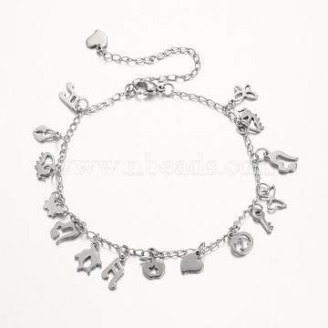 304 Stainless Steel Charms Anklets, with Lobster Claw Clasps, Stainless Steel Color, 225mm(AJEW-AN00106)