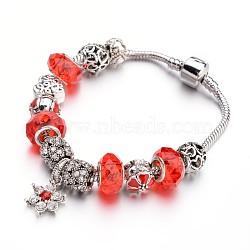 Bracelets européens de mode en laiton, avec des perles de verre et perles en alliage de strass, orange rouge , 190x3mm(BJEW-L583-01E)
