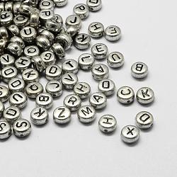 Perles alphabet acryliques plaquées, plat rond, mixte, 7x4mm, trou: 1.3 mm; environ 3600 pcs / 500 g(PACR-Q099-M03)