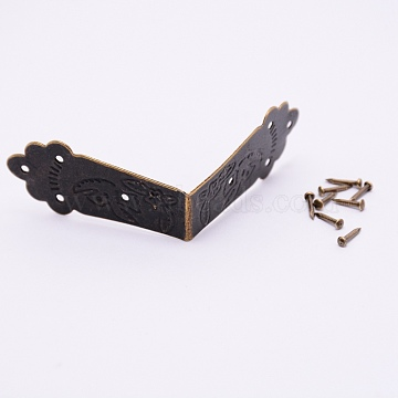 Iron Box Corner Protectors, with Screws, For Furniture Jewelry Box Decoration, Antique Bronze, 19x66x19mm, Hole: 1.5mm; Screws: 8.5x2mm, Pin: 1mm(FIND-WH0060-24A)