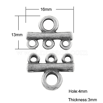 Tibetan Style Links connectors, Cadmium Free & Lead Free, Antique Silver, 13x16x3mm, Hole: 4mm(TIBE-A24207-AS-LF)