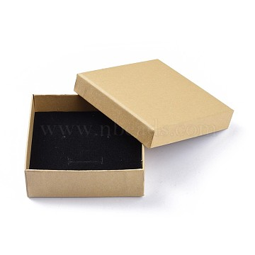Kraft Paper Cardboard Jewelry Boxes, Earring/Necklace/Bracelet Box, Square, BurlyWood, 9x9x3cm(CBOX-WH0001-D05)