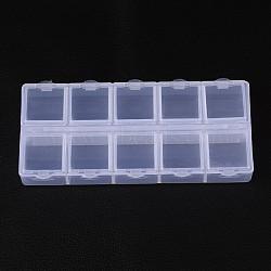 récipients en plastique de talon cuboïde, flip top stockage de perles, 10 compartiments blanc, 13.2x6.2x2.05 cm(X-CON-N007-02)