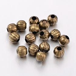 Perles ondulées en fer, sans nickel, bronze antique, rond, 6 mm de diamètre, Trou: 2 mm(X-E187Y-NFAB)