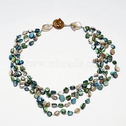 colliers en perles naturelles avec éclats de coquille pour femmes, colliers multicouches, skyblue, 20.07(NJEW-L101-03)