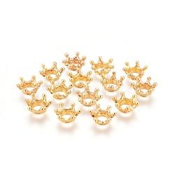 Tibetan Style Alloy Bead Caps, Crown, Golden, 13x6mm, Hole: 6mm(X-PALLOY-WH0054-02G)