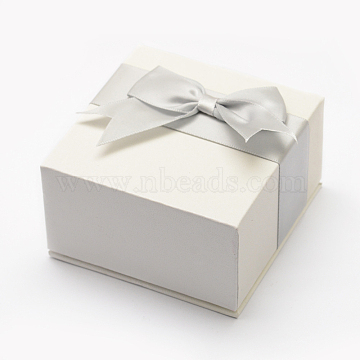 Cardboard Jewelry Boxes, with Ribbon Bowknot, Square, White, 7.55x7.55x4.35cm, Inner Available Size: 6.6x6.6x2cm(X-CBOX-L002-02B)