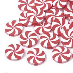 main en pate polymère cabochons, plat rond, rouge, 11x1.5~2 mm(X-CLAY-Q230-91)