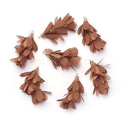 Большие подвески из железа , с шифоном, цветок, золотые, коричневый, 50~52x22~28 мм, отверстие : 2 мм(IFIN-G081-A01)