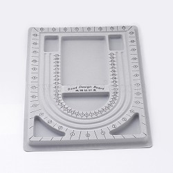 Plastic Bead Design Boards for Necklace Design, Flocking, Rectangle, 9.45x12.99x0.39 inches, Gray (TOOL-H003-1)