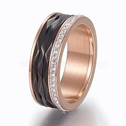 Bagues en 304 acier inoxydable, anneaux large bande, avec argile polymère strass, cristal, taille 6~9, gris anthracite & or rose, 16~19mm(RJEW-E155-02RG)