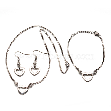 Heart 304 Stainless Steel Necklaces, Link Bracelets and Dangle Earrings Sets, Stainless Steel Color, 17.7 inches; 180mm; 44mm, Pin: 0.7mm(SJEW-F049-05)