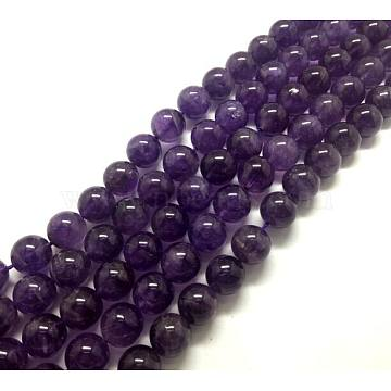 Round Natural Amethyst Beads Strands, 10mm, Hole: 1mm; about 19pcs/strand, 8inches(X-G-D780)