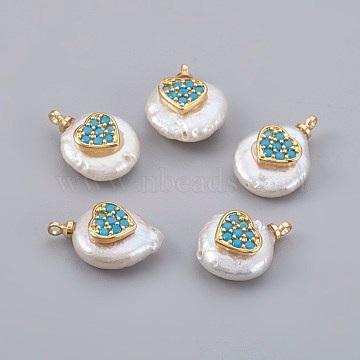 Natural Cultured Freshwater Pearl Pendants, with Cubic Zirconia and Brass Findings, Long-Lasting Plated, Real 18K Gold Plated, Heart, Deep Sky Blue, 14~21x9~16x5~9mm, Hole: 1.5mm(PEAR-F008-23G-02)