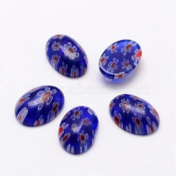 Handmade Millefiori Glass Cabochons, Oval, DarkBlue, 14x10x5mm(LAMP-G125-14)