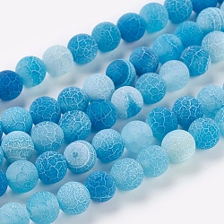 Natural Crackle Agate Beads Strands, Dyed, Round, Grade A, CornflowerBlue, 8mm, Hole: 1mm; about 50pcs/strand, 14inches