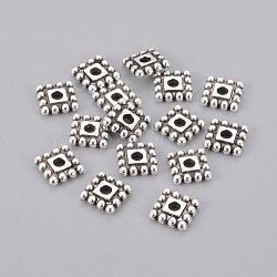 style tibétain perles d'entretoise, sans plomb et sans cadmium, carré, argent antique, 7x7x2 mm, trou: 2 mm(X-TIBEB-00697-AS-RS)